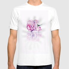 Rose White SMALL Mens Fitted Tee