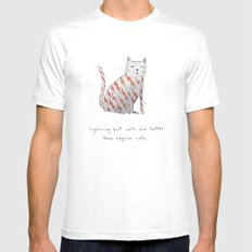 lightning bolt cats are better SMALL Mens Fitted Tee White