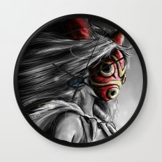 Miyazaki's Mononoke Hime Digital Painting the Wolf Princess Warrior Color Variation Wall Clock