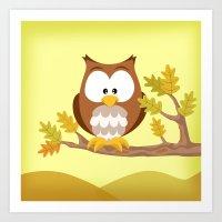 Woodland Animals Serie I. Owl Art Print