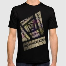 Abstract Mixed Media Design Mens Fitted Tee Black SMALL