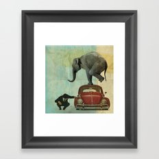 Looking for Tiny _ elephant on a red VW beetle Framed Art Print