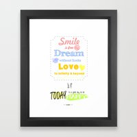 {ENG} SMILE · DREAM · LOVE Framed Art Print