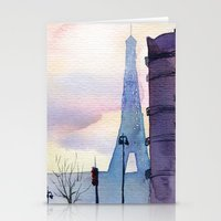 paris Stationery Cards featuring Paris by Emma Reznikova