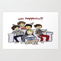 One Direction 'Vas Happenin' Cartoon Art Print