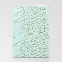 French Script on Paris Blue Stationery Cards