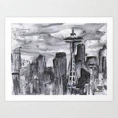 Seattle Skyline Watercolor Space Needle Art Print
