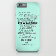 iPhone & iPod Case featuring 2 Corinthians 12:9 by Meredith Cox
