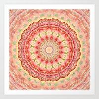 Mandala Tequila Sunrise -- Kaleidoscope of Vibrant Sunny Colors Art Print