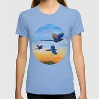 Taiwan Blue Magpies (2) Womens Fitted Tee Tri-Blue SMALL