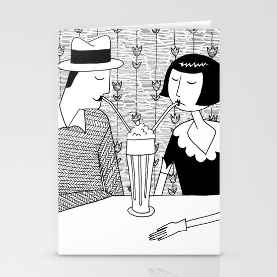 They shared a chocolate shake and some dreams Stationery Card