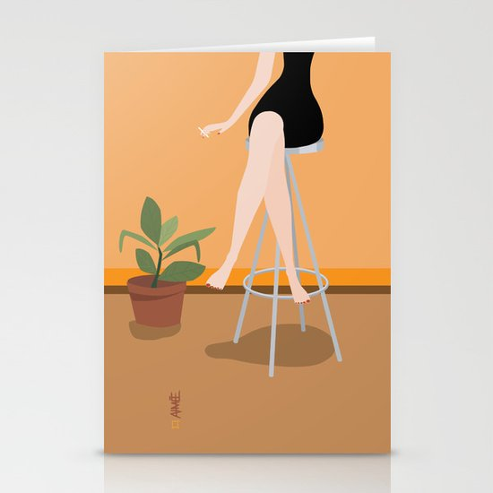Girl on Stool Stationery Card