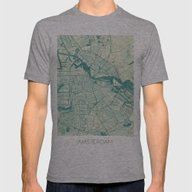 Amsterdam Map Blue Vinta… Mens Fitted Tee Athletic Grey SMALL