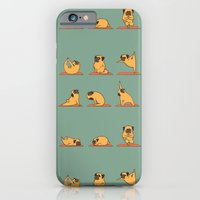 iPhone Cases featuring Pug Yoga by Huebucket