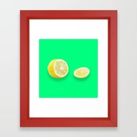 Lonely Sliced Lemon - Bright Spring Green Framed Art Print