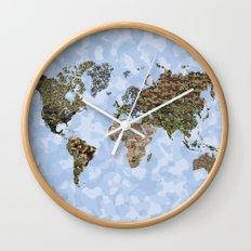 CAMO WORLD ATLAS MAP (BLUE) Wall Clock