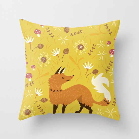 Cute as a Fox Throw Pillow