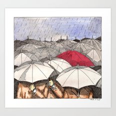 Standing Out in the Rain Art Print
