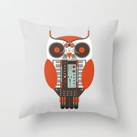 DJ Owl Throw Pillow