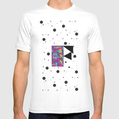 Letter F White Mens Fitted Tee SMALL