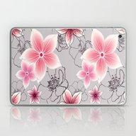 Pink Floral On Grey Laptop & iPad Skin