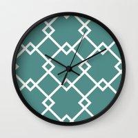 Diamonds (teal) Wall Clock