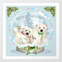 Snow globe bears Art Print