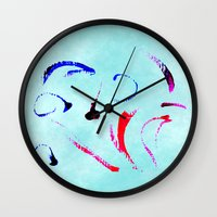 Extreme Aqua Brush Strok… Wall Clock