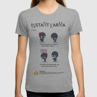 Instant Karma Womens Fitted Tee Athletic Grey SMALL