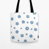 Snowflakes (Blue & Black on White) Tote Bag