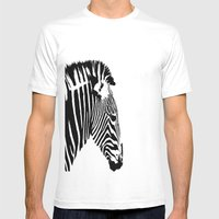 Zebra Portrait Mens Fitted Tee White SMALL