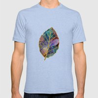 Colored Leaf Pattern 2 Mens Fitted Tee Tri-Blue SMALL