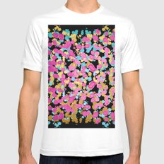 Pink, Blue, & Gold Faux Sparkly Paint Splatter White SMALL Mens Fitted Tee