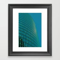 Teal Blue Abstract Framed Art Print