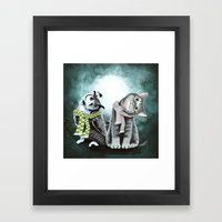 Cat And Owl Framed Art Print
