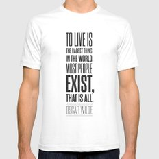 Lab No. 4 - Oscar Wilde Motivational inspirational typography print Poster Mens Fitted Tee SMALL White