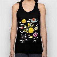 Happy Flight / The Animals Hot Air Balloon Voyagers / Patterns / Clouds Unisex Tank Top