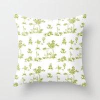 Yellow Toile Unicorn Throw Pillow