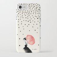 rain iPhone & iPod Cases featuring Polka Rain by Karen Hofstetter