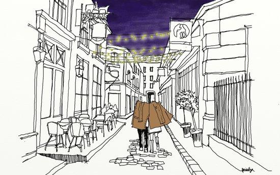 Parisian Street at Night Art Print