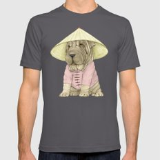 Shar Pei on the Great Wall (China) Mens Fitted Tee Asphalt SMALL