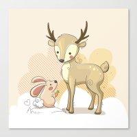 the deer & rabbit Canvas Print