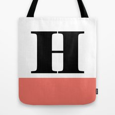 Monogram Letter H-Pantone-Peach Echo Tote Bag