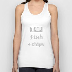 I ♥ Fish and Chips - Gray Unisex Tank Top