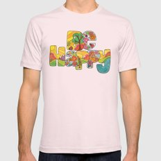 Be Happy Mens Fitted Tee Light Pink SMALL