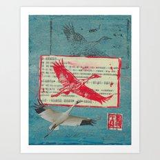 Whooping Crane Collage Art Print