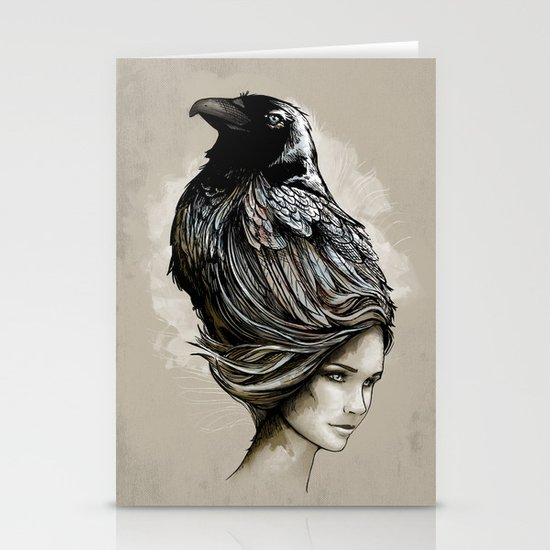 Raven Haired Stationery Card