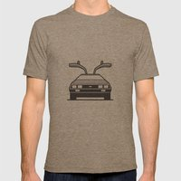 #4 Delorean Mens Fitted Tee Tri-Coffee SMALL