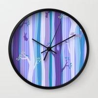 Purple Woodland Stripe Wall Clock