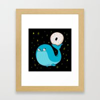 Pluto's Whale and Donut Framed Art Print